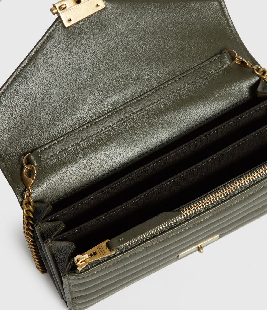 Women's Justine Chain Leather Wallet (khaki_green) - Image 2