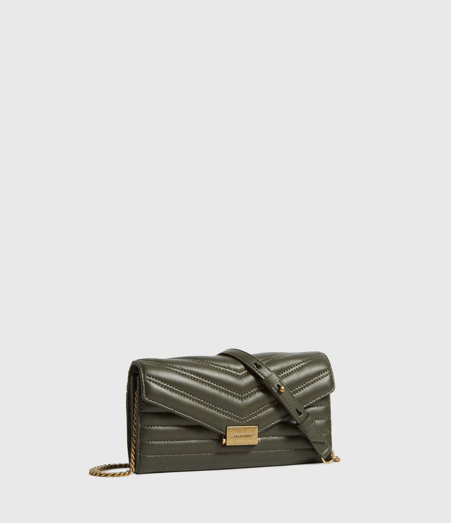 Women's Justine Chain Leather Wallet (khaki_green) - Image 3