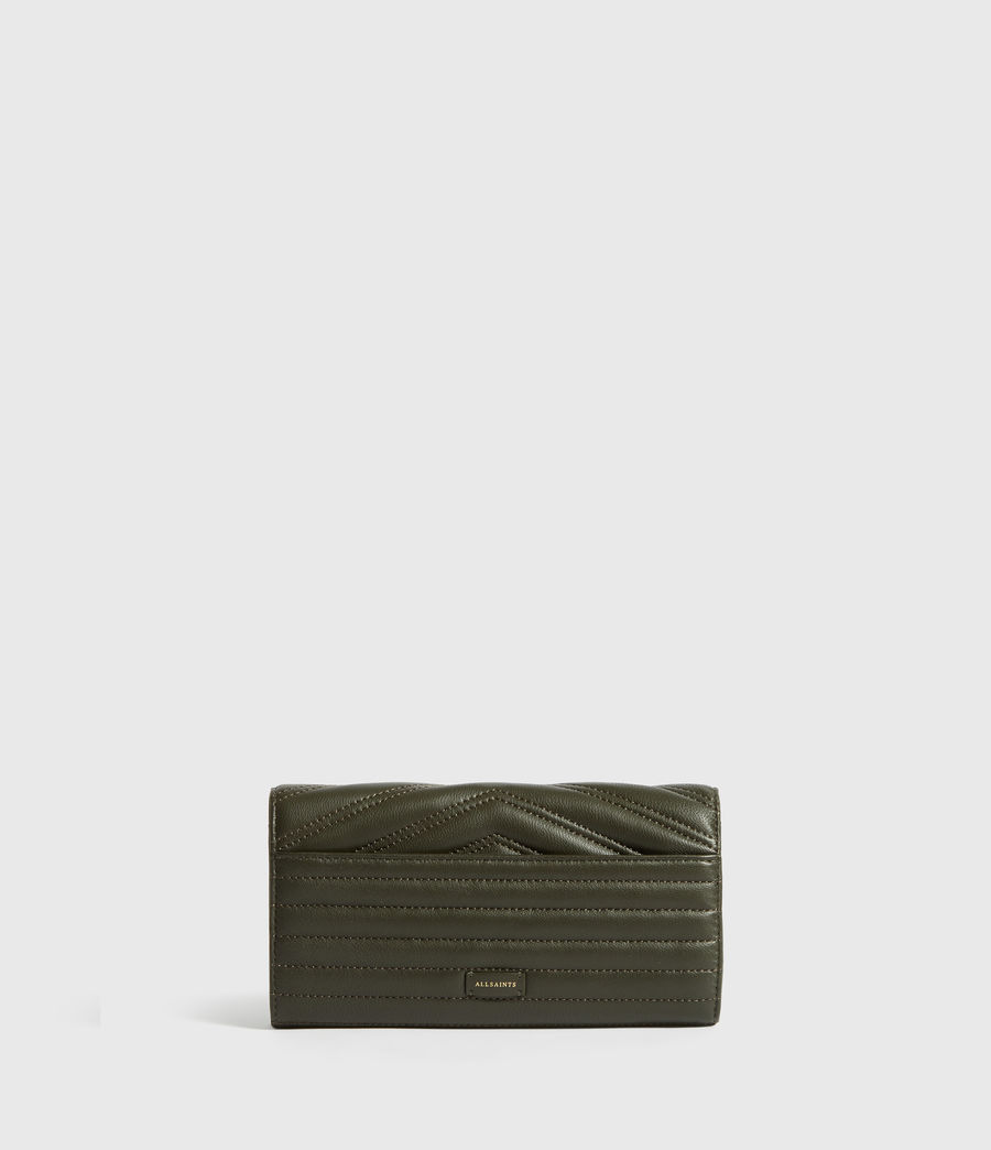 Women's Justine Chain Leather Wallet (khaki_green) - Image 5