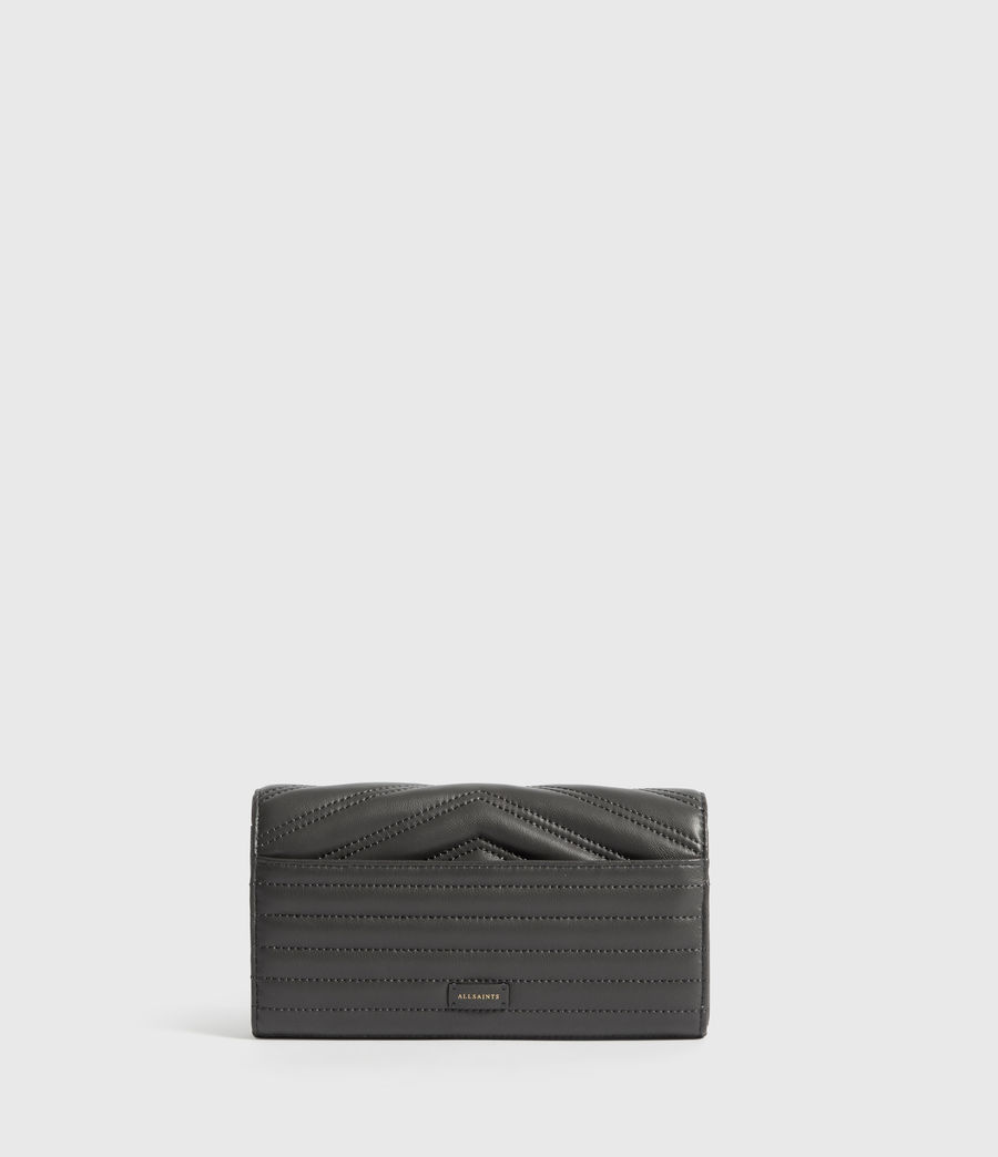 Women's Justine Chain Leather Wallet (graphite_grey) - Image 4