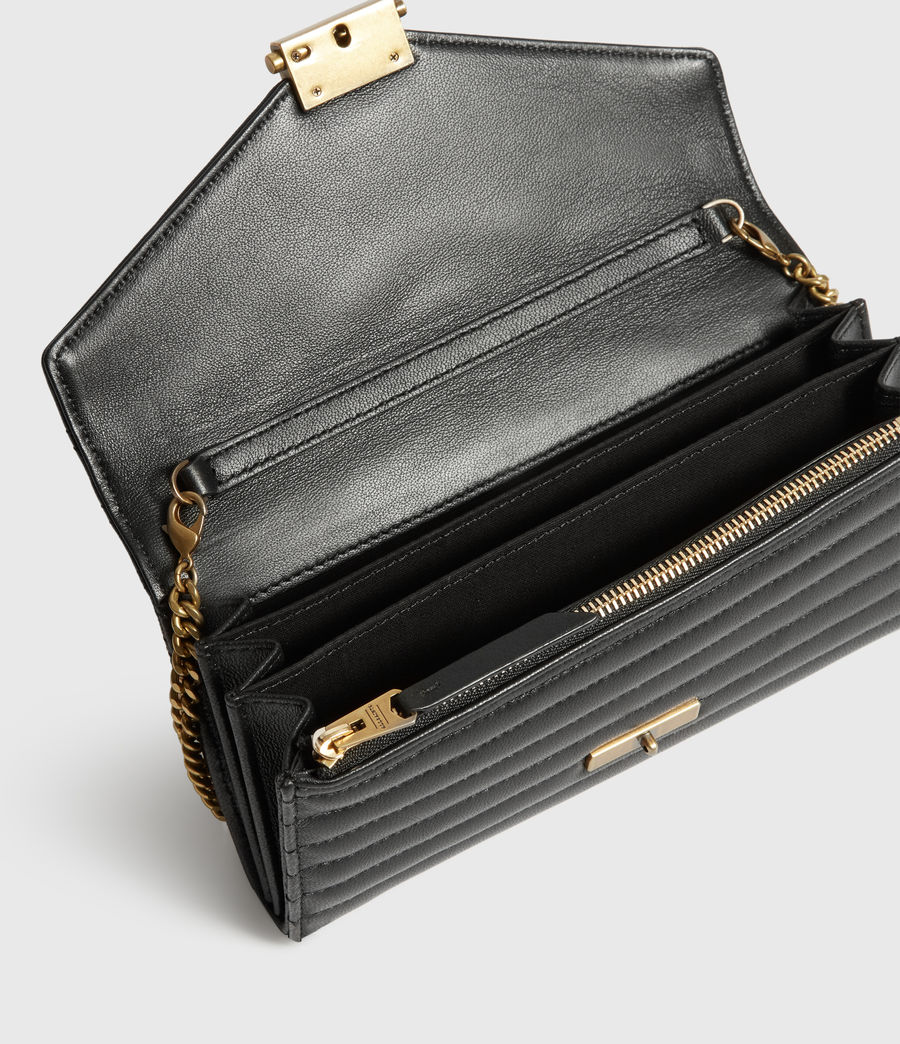 Womens Justine Chain Leather Wallet (khaki_green) - Image 2