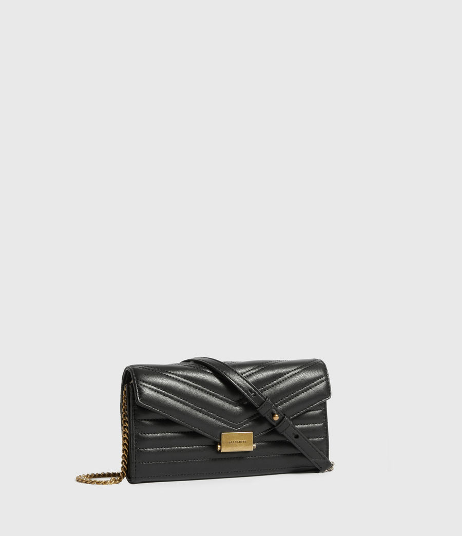 Womens Justine Chain Leather Wallet (black) - Image 3
