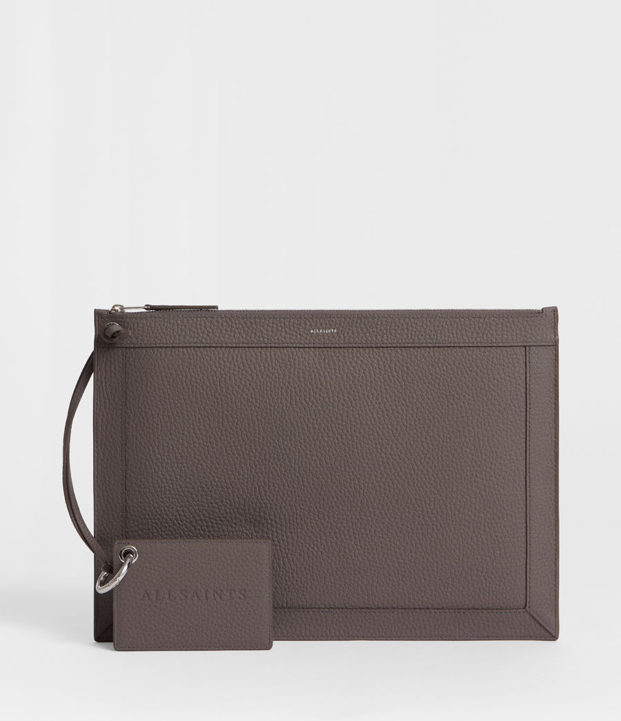 Damen Captain Lea Leder Clutch (storm_grey) - Image 1
