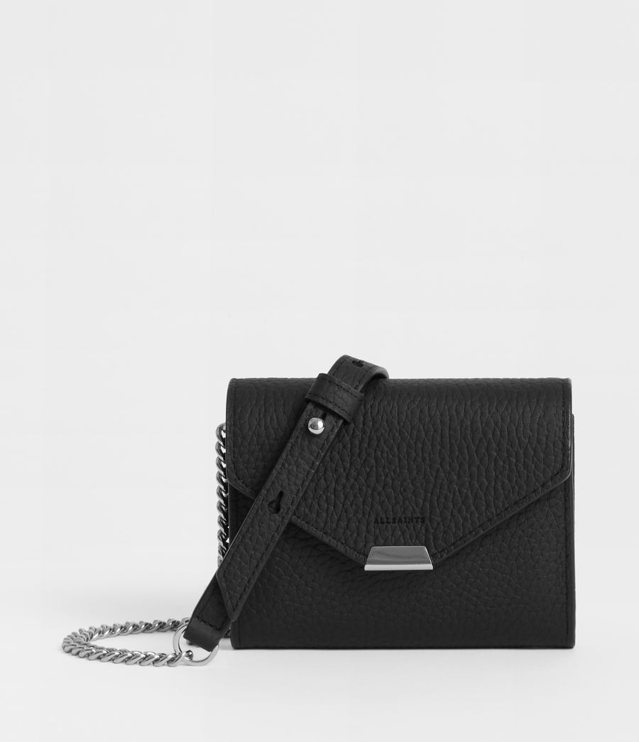 Women's Captain Leather Chain Cardholder (black) - Image 1