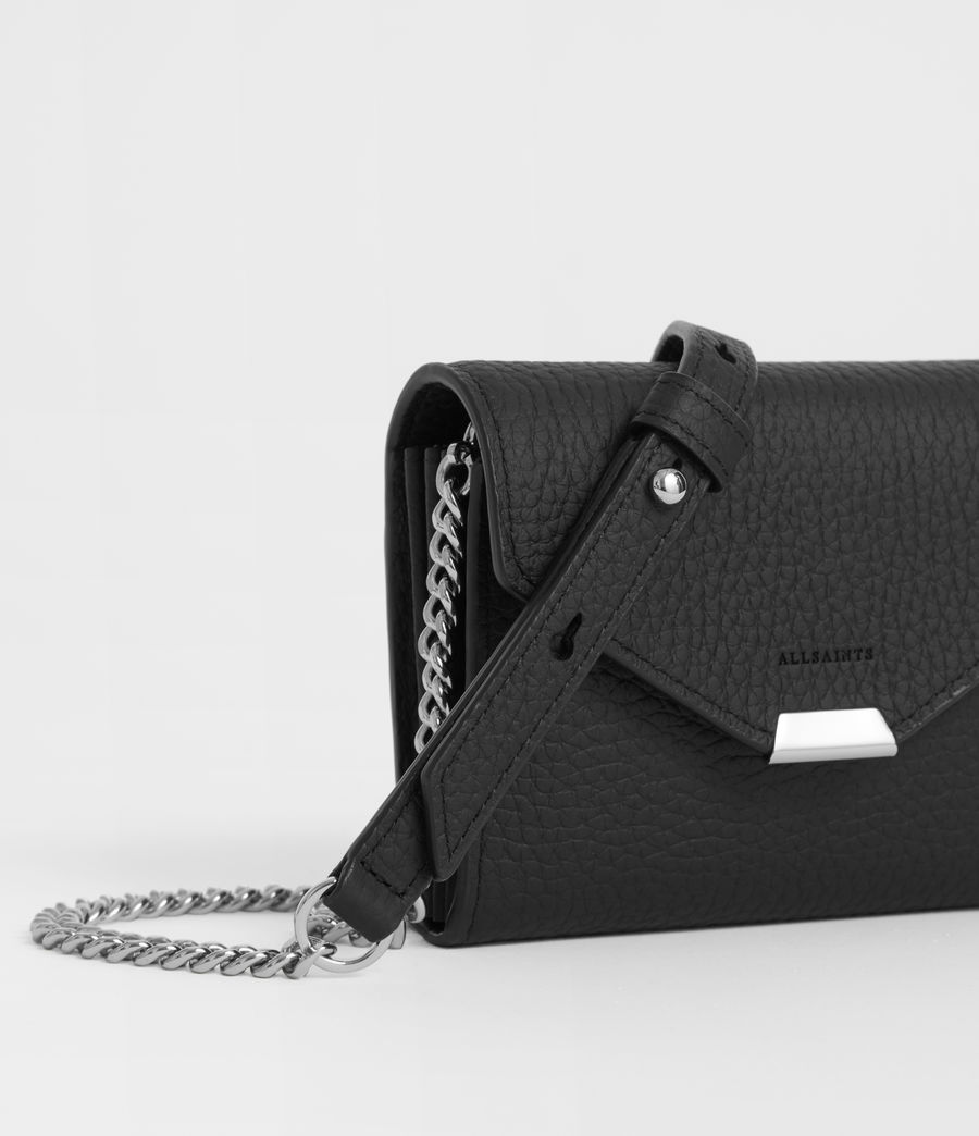 Women's Captain Leather Chain Cardholder (black) - Image 2