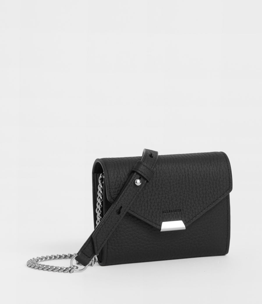Women's Captain Leather Chain Cardholder (black) - Image 3