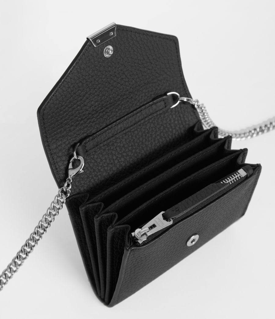 Women's Captain Leather Chain Cardholder (black) - Image 5
