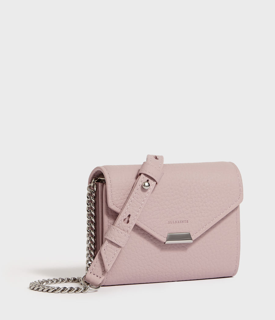 Womens Captain Chain Leather Cardholder (coral_pink) - Image 2