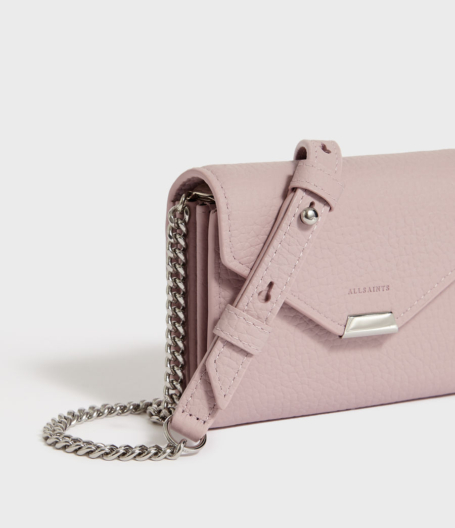 Womens Captain Chain Leather Cardholder (coral_pink) - Image 3