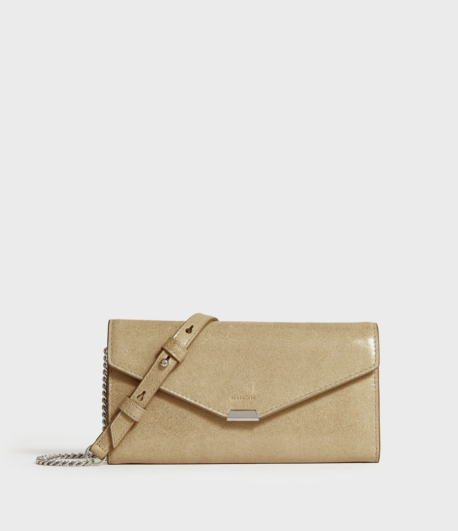 Mujer Glitz Chain Leather Wallet (glittering_gold) - Image 1