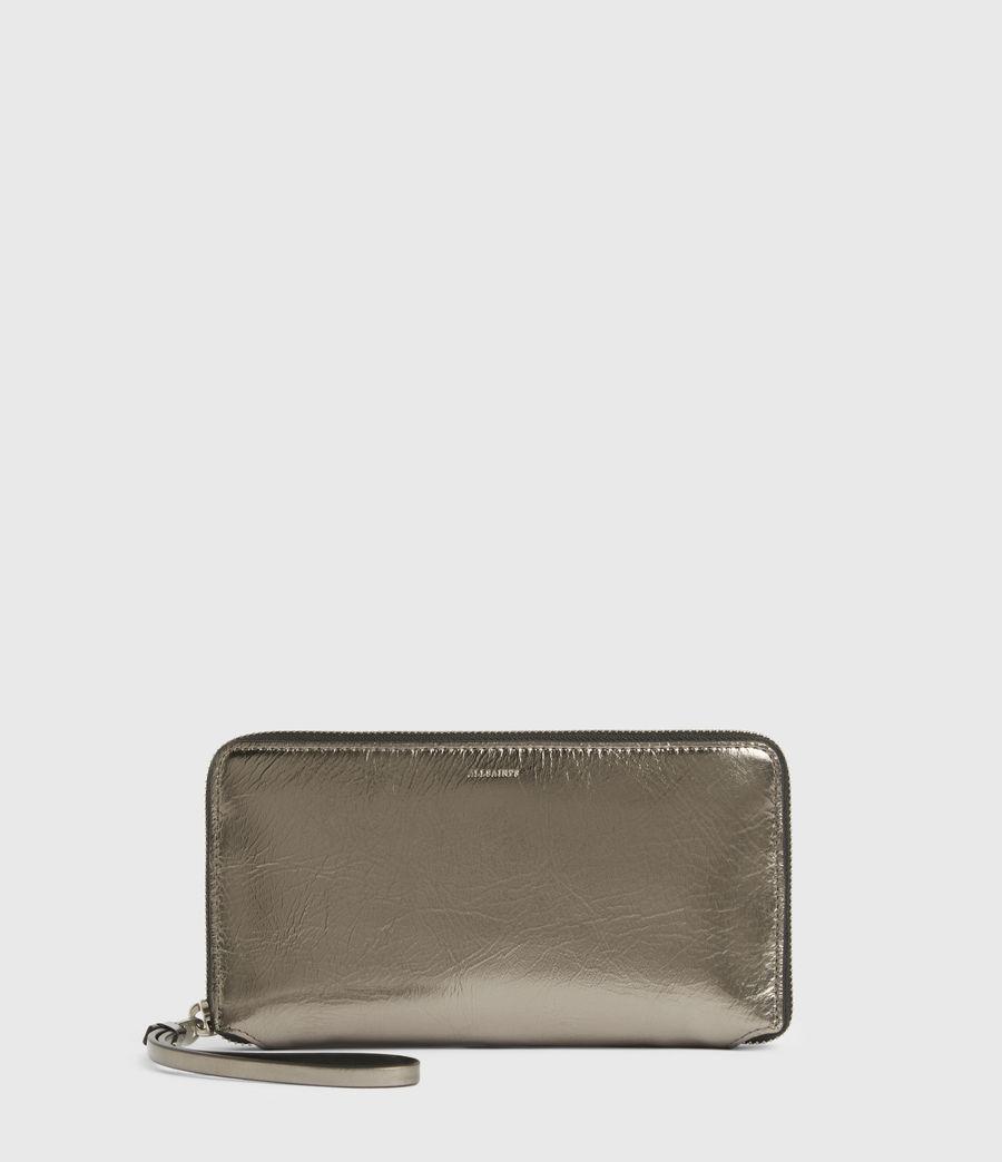 Women's Fetch Leather Phone Wristlet (silver) - Image 1