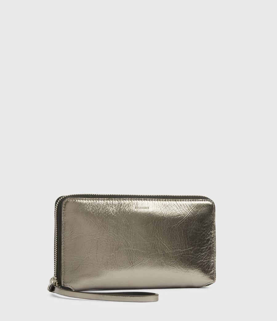 Women's Fetch Leather Phone Wristlet (silver) - Image 3