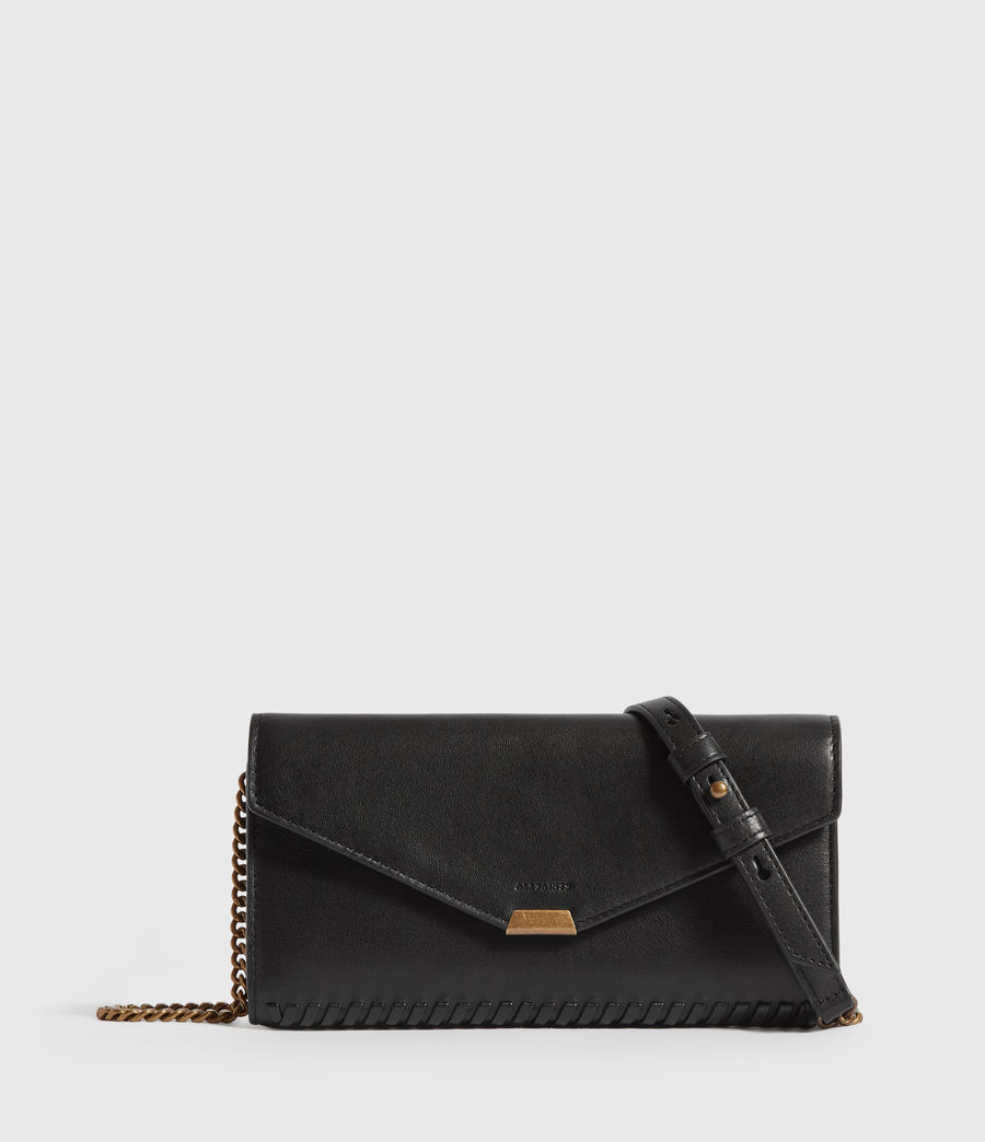 Women's Courtney Chain Leather Wallet (black) - Image 1