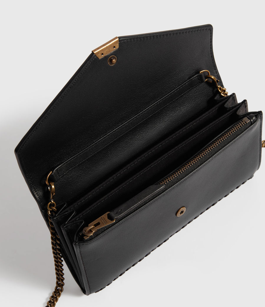 Womens Courtney Chain Leather Wallet (black) - Image 2