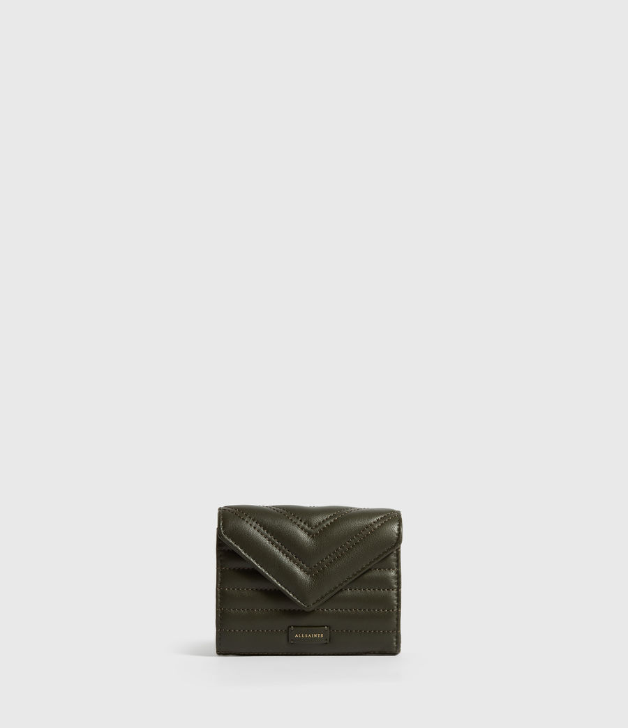 Women's Justine Flap Leather Cardholder (khaki_green) - Image 1