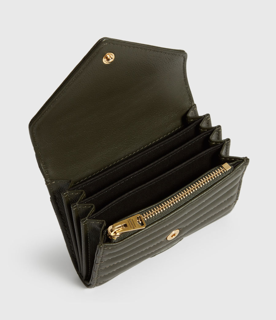 Women's Justine Flap Leather Cardholder (khaki_green) - Image 2
