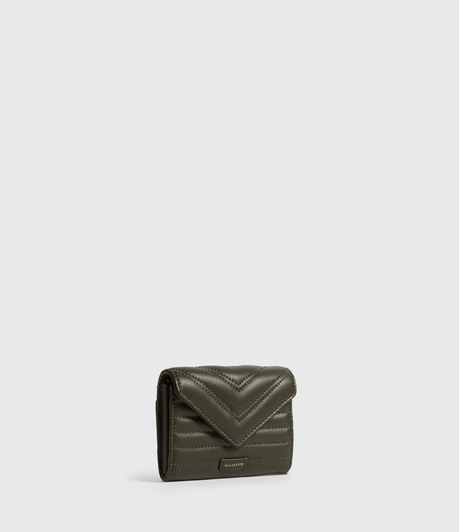 Women's Justine Flap Leather Cardholder (khaki_green) - Image 3