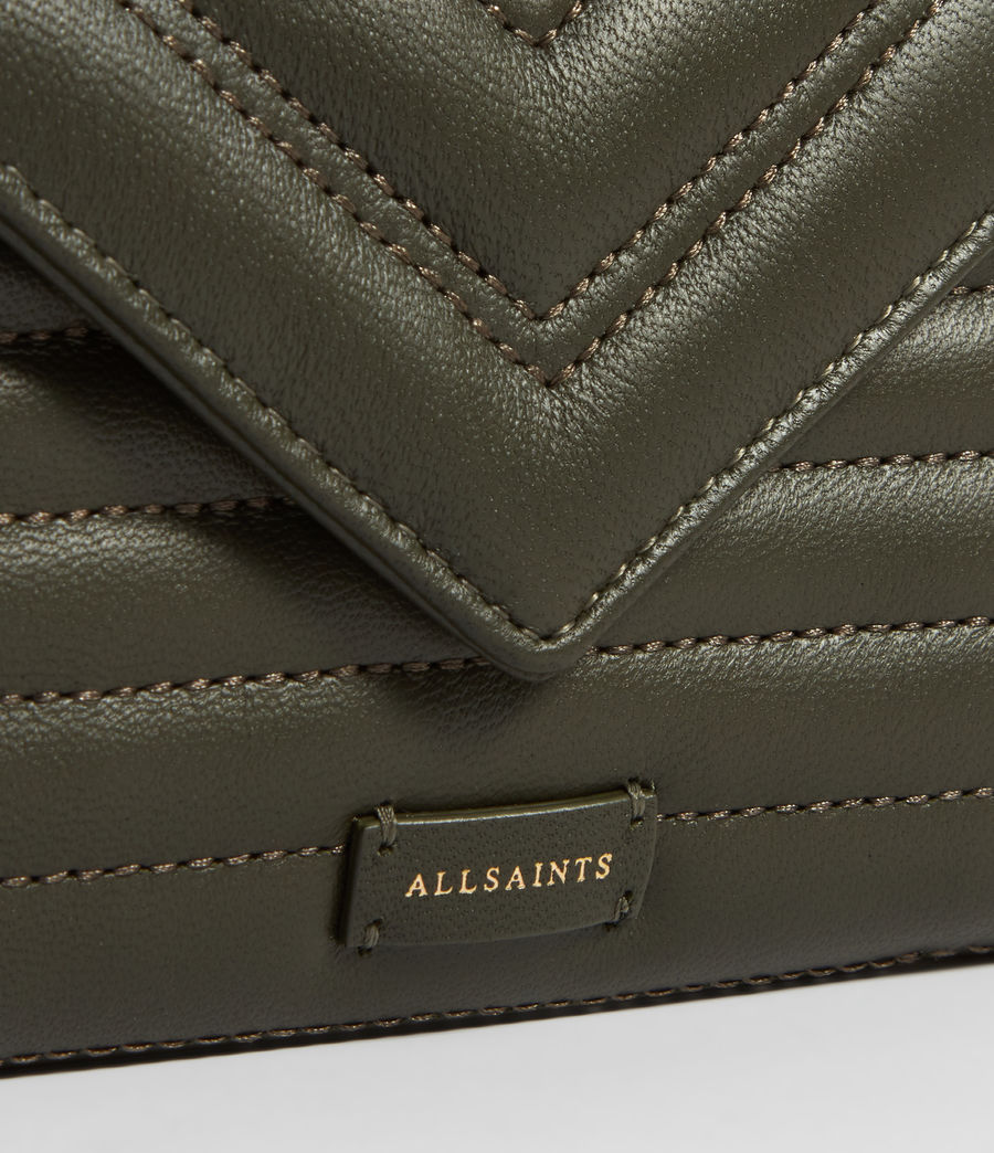 Women's Justine Flap Leather Cardholder (khaki_green) - Image 4