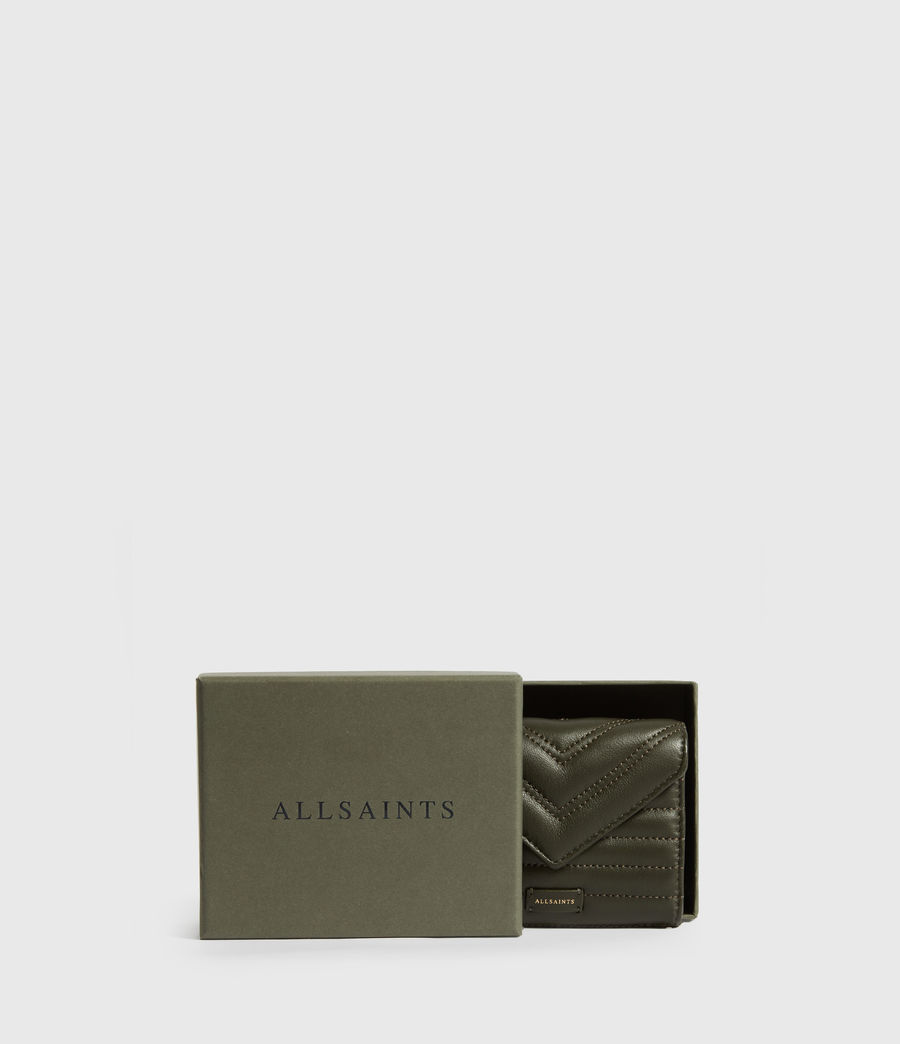 Women's Justine Flap Leather Cardholder (khaki_green) - Image 6