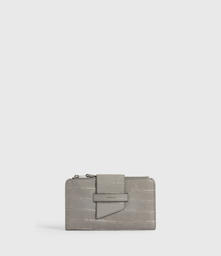 Women's Ray Crocodile Leather Wallet (mist_grey) - Image 1