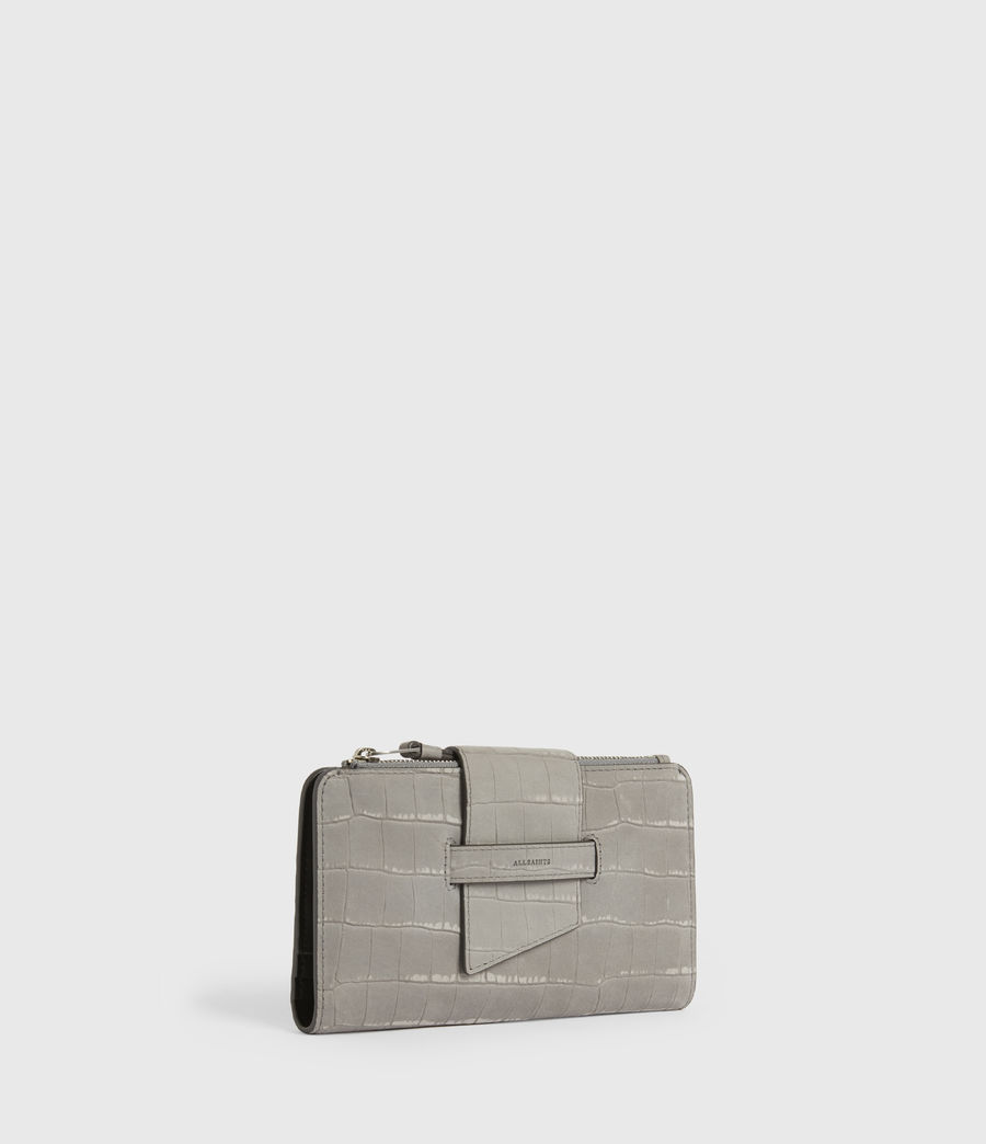 Women's Ray Crocodile Leather Wallet (mist_grey) - Image 3
