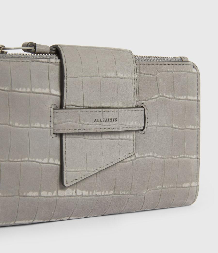 Women's Ray Crocodile Leather Wallet (mist_grey) - Image 4