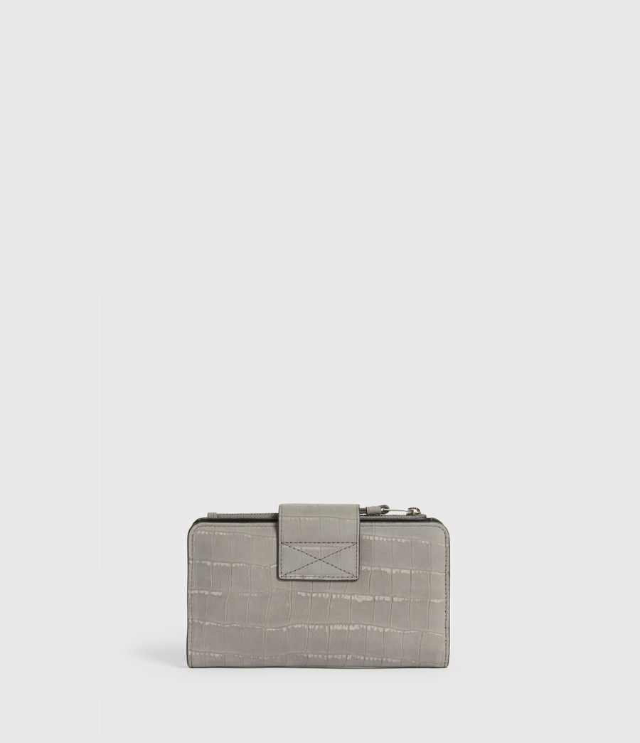Women's Ray Crocodile Leather Wallet (mist_grey) - Image 6