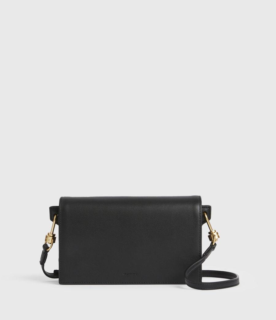 Womens Gold Smith Leather Crossbody Bag (black) - Image 2