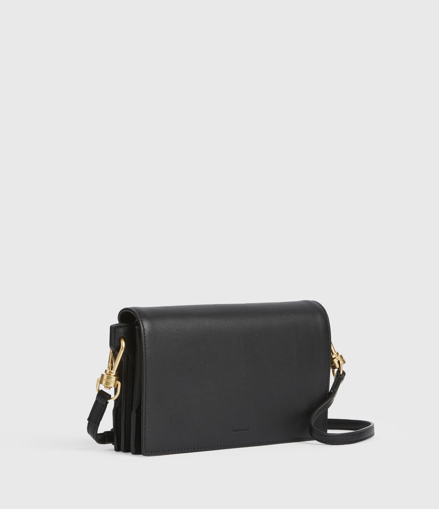 Womens Gold Smith Leather Crossbody Bag (black) - Image 4
