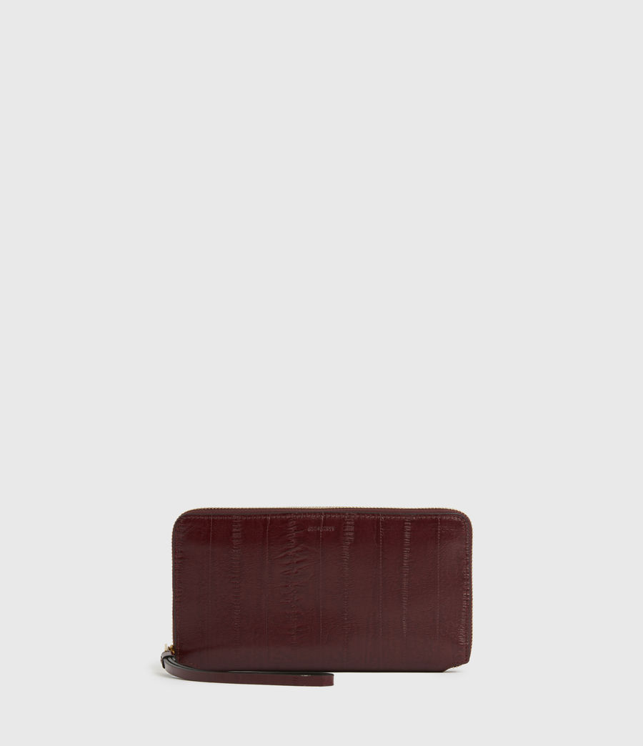 Womens Fetch Leather Phone Wristlet (burnt_sienna_red) - Image 1