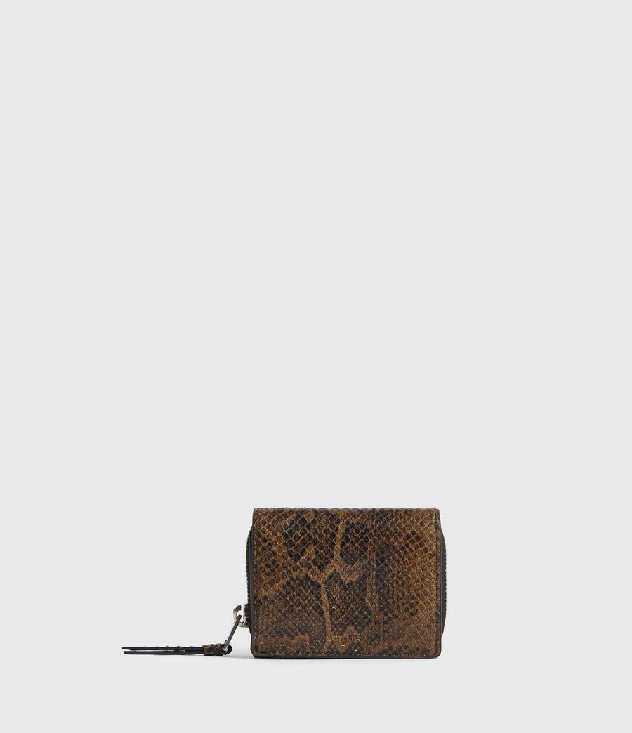 Womens Bede Snake Print Leather Cardholder (light_olive) - Image 1