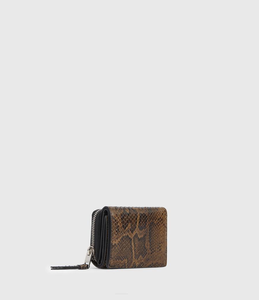 Womens Bede Snake Print Leather Cardholder (light_olive) - Image 3