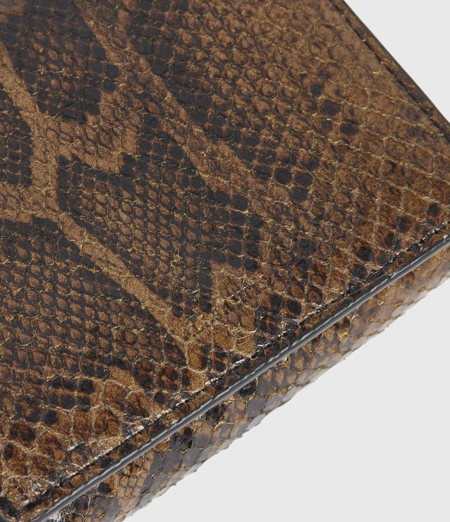 Womens Bede Snake Print Leather Cardholder (light_olive) - Image 4