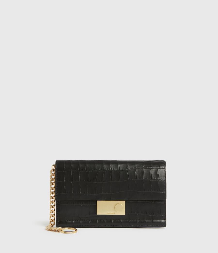 Women's Hercules Crocodile Leather Wallet (black) - Image 1