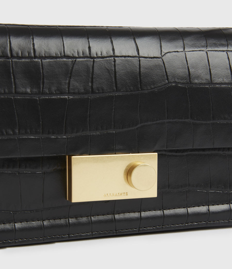 Women's Hercules Crocodile Leather Wallet (black) - Image 4