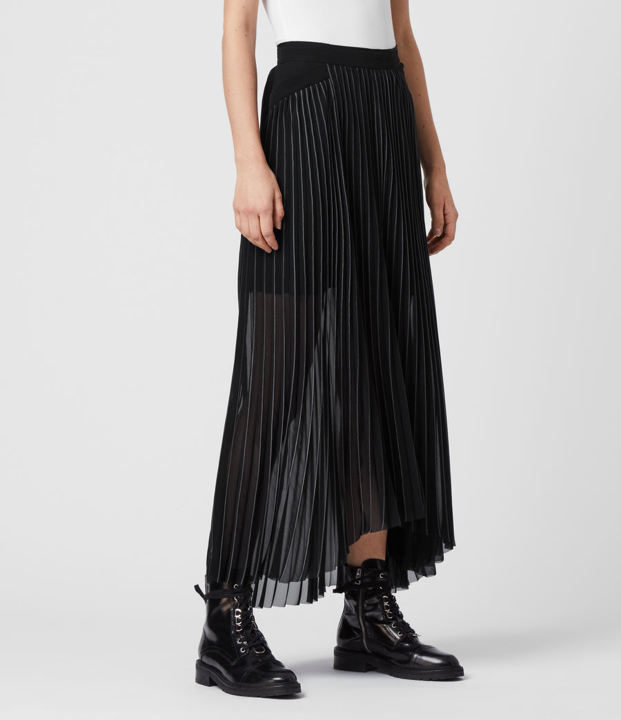 Women's Cora Pleat Skirt (black) - Image 3