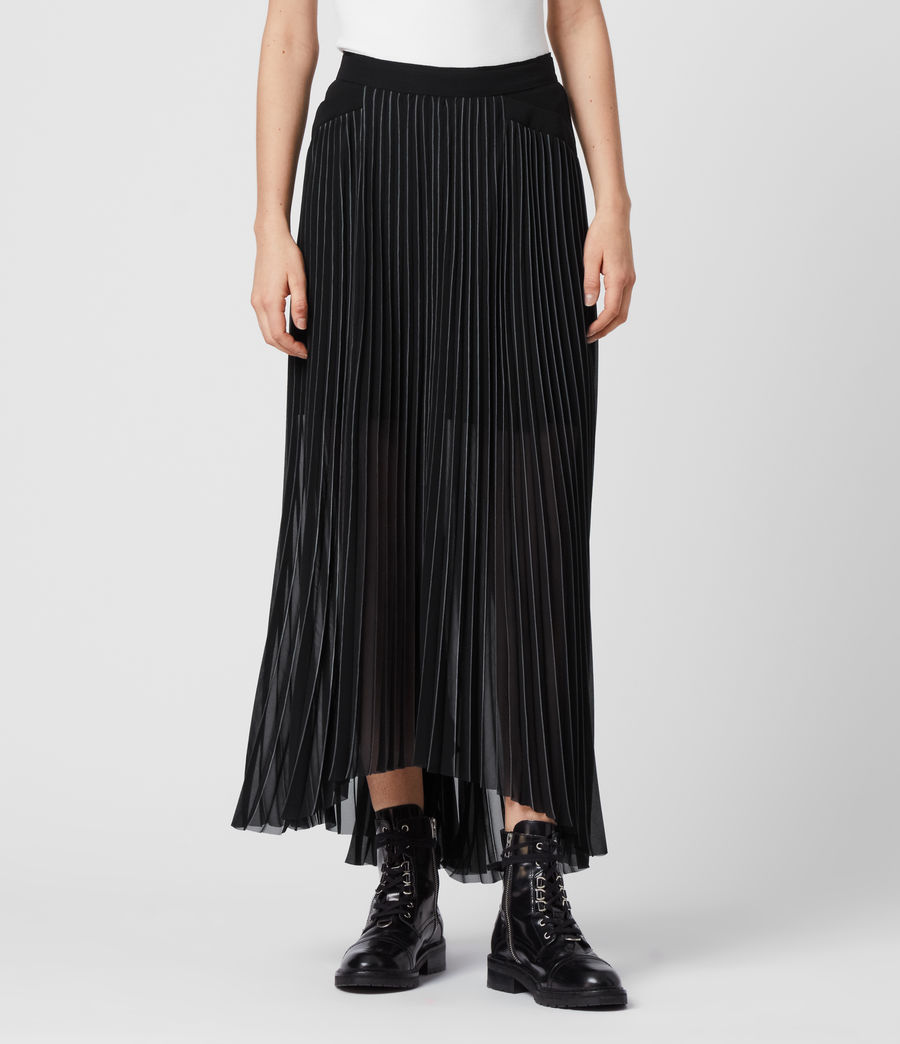 Women's Cora Pleat Skirt (black) - Image 4