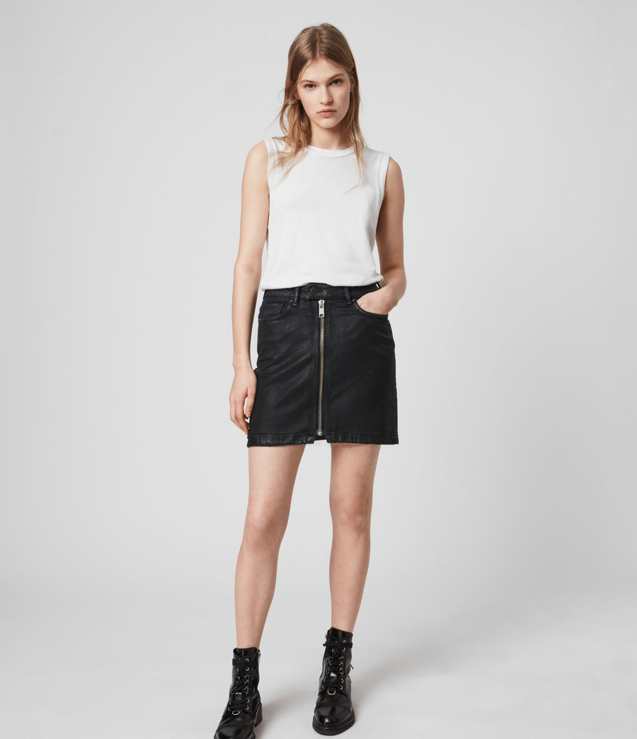 Mujer Sammy Denim Skirt (coated_black) - Image 1