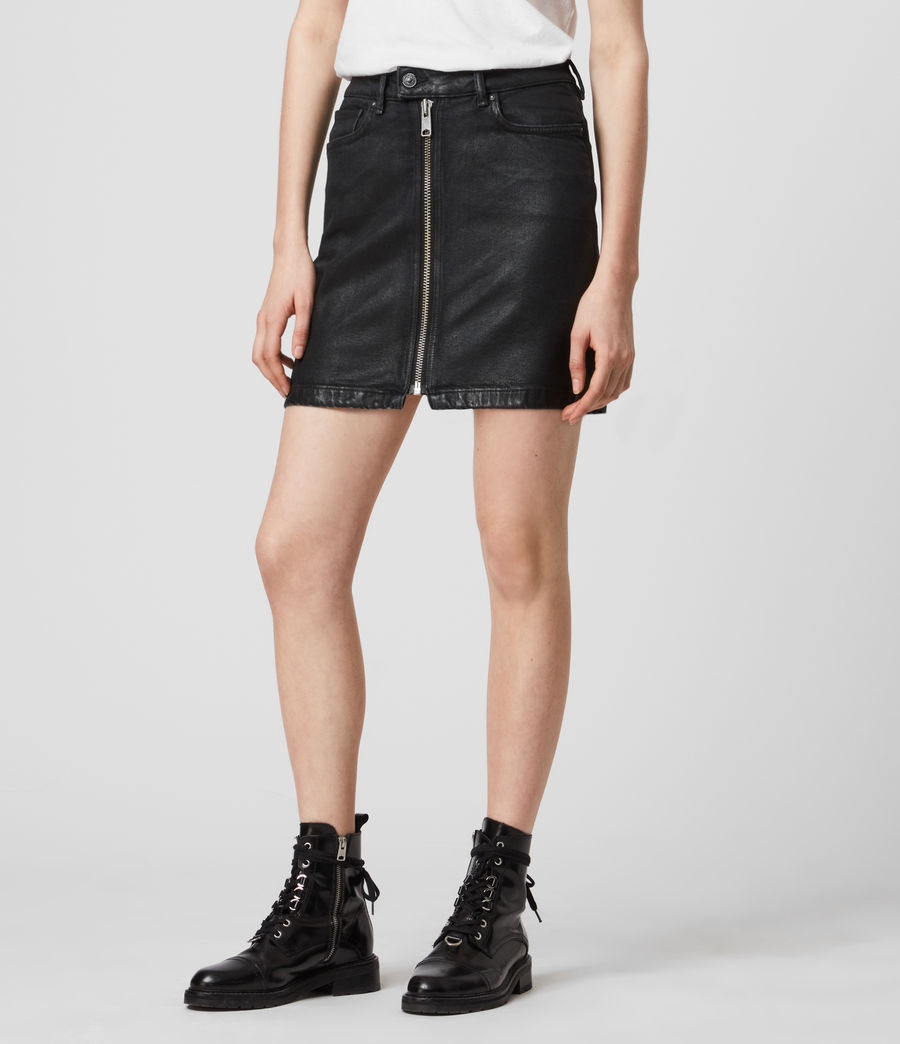 Mujer Sammy Denim Skirt (coated_black) - Image 3