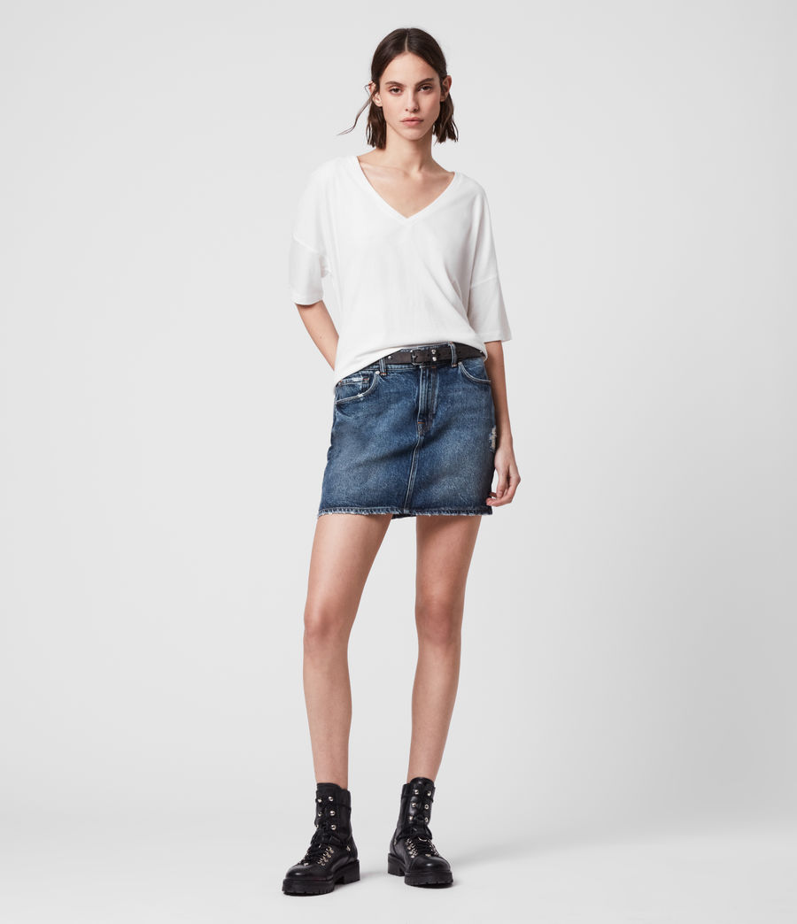 Women's Arden Denim Skirt (dark_indigo_blue) - Image 1