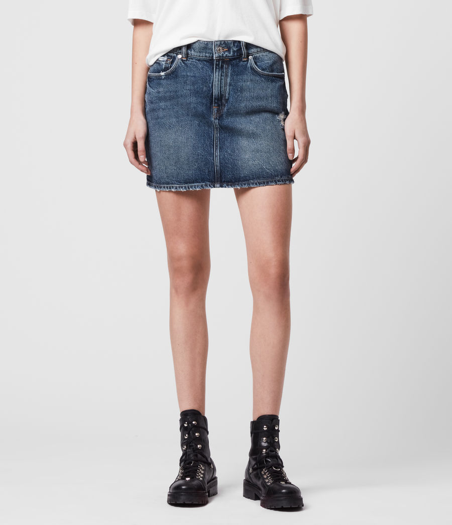 Womens Arden Denim Skirt (dark_indigo_blue) - Image 3