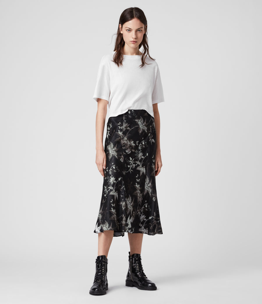 Womens Elly Silk Blend Evolution Skirt (black) - Image 1