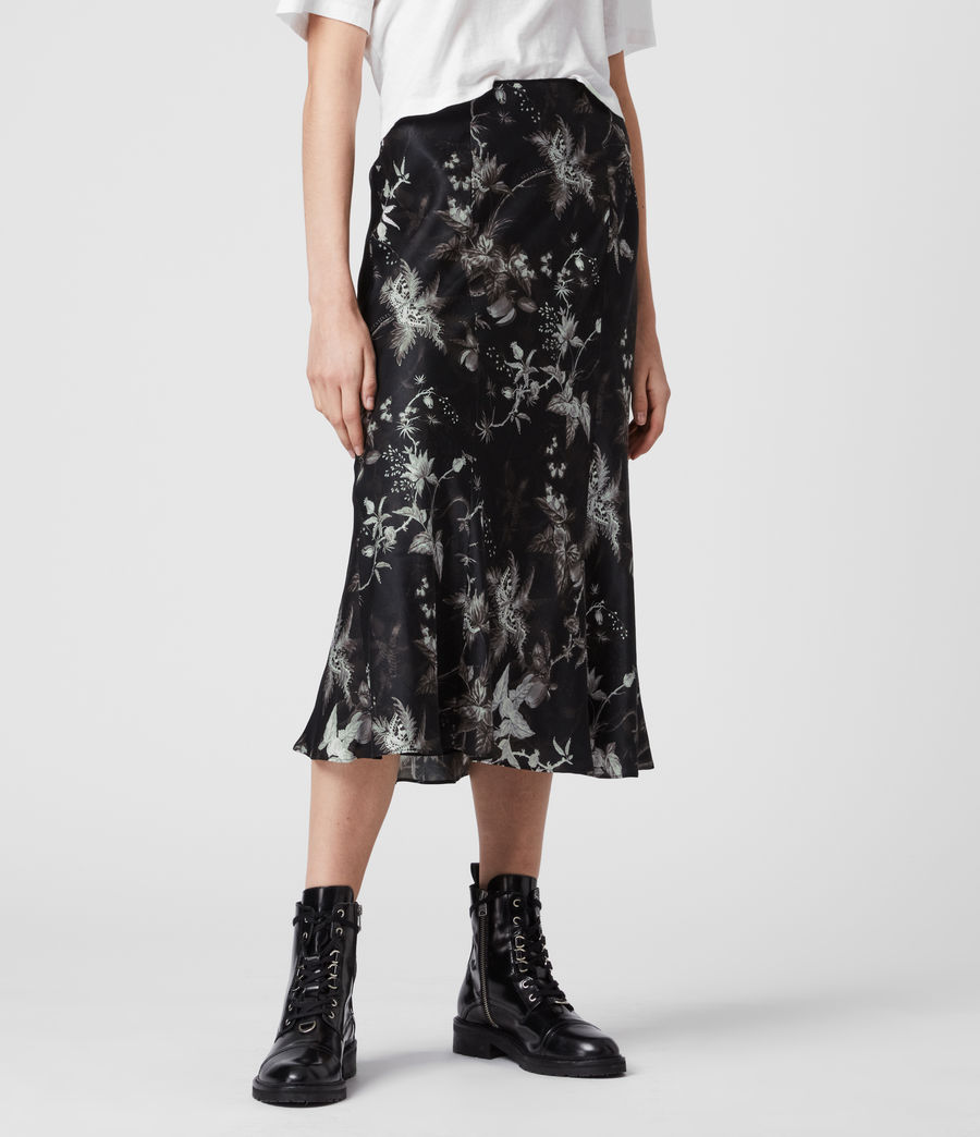 Womens Elly Silk Blend Evolution Skirt (black) - Image 3