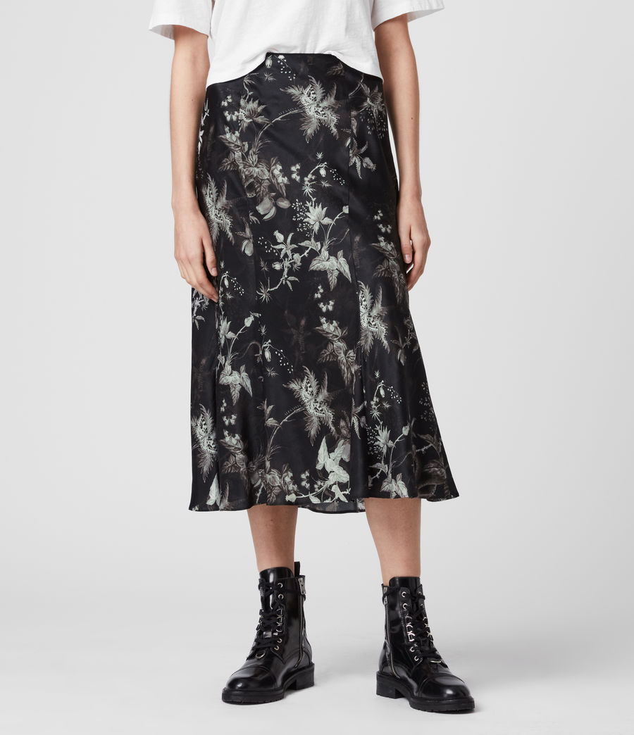Womens Elly Silk Blend Evolution Skirt (black) - Image 4