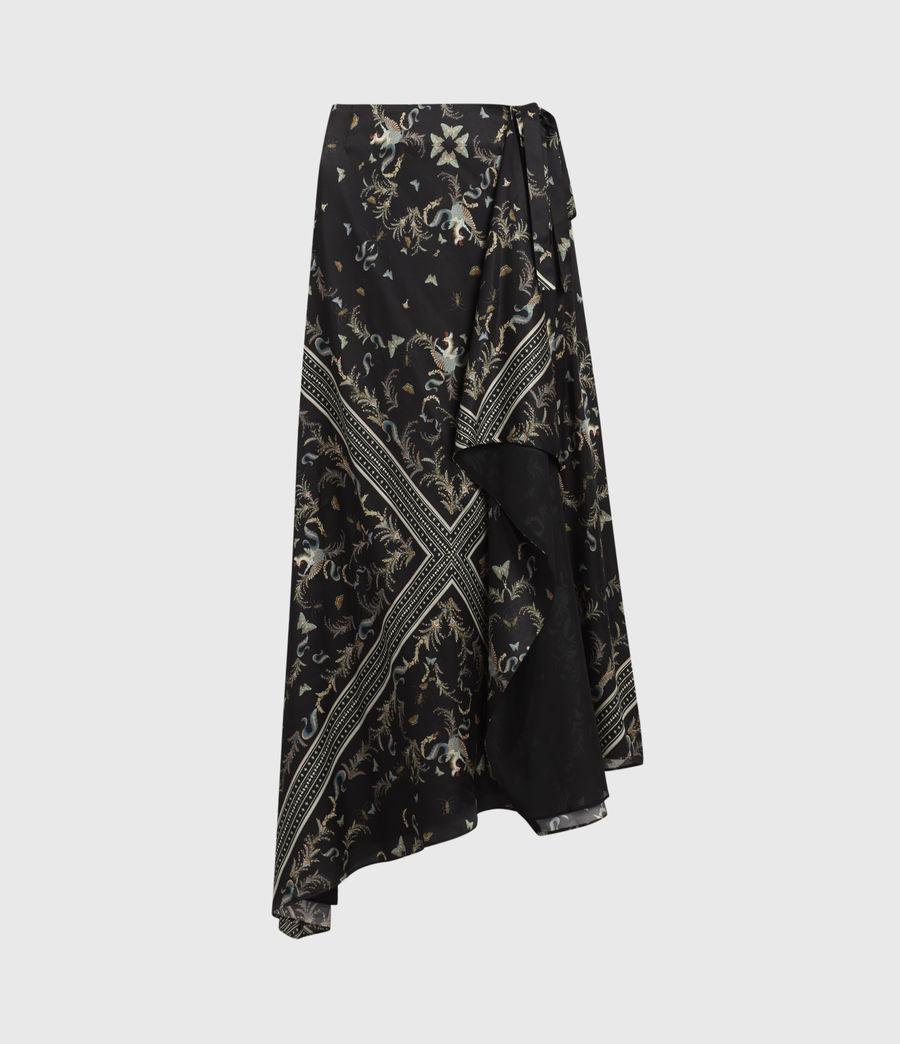 Womens Maia Assam Silk Blend Skirt (black) - Image 2