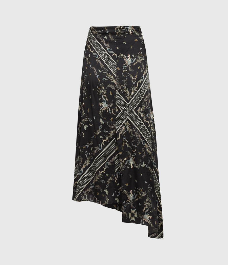 Womens Maia Assam Silk Blend Skirt (black) - Image 3
