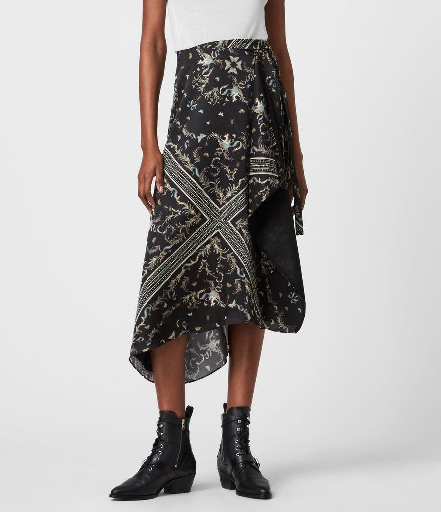Womens Maia Assam Silk Blend Skirt (black) - Image 4