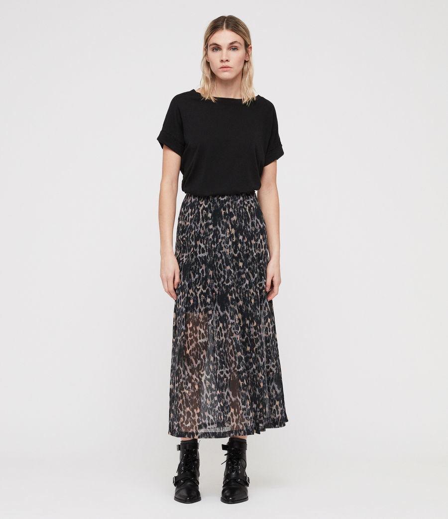 Women's Drea Leopard Skirt (grey) - Image 1