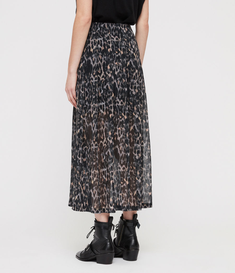 Womens Drea Leopard Skirt (grey) - Image 4