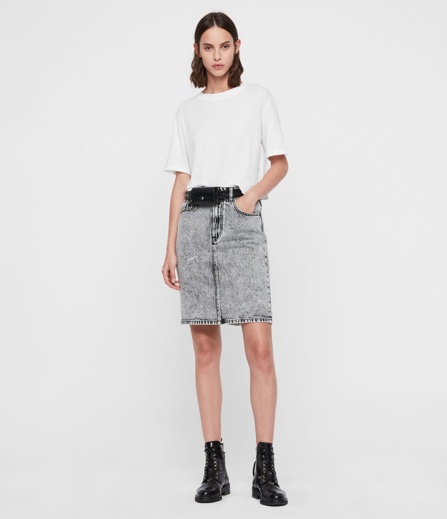 Women's Nara Denim Pencil Skirt (acid_wash_black) - Image 1